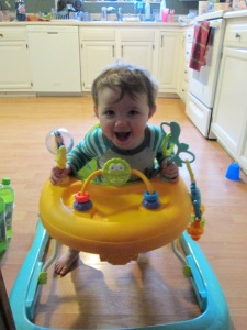 Happy Boy in his walker!
